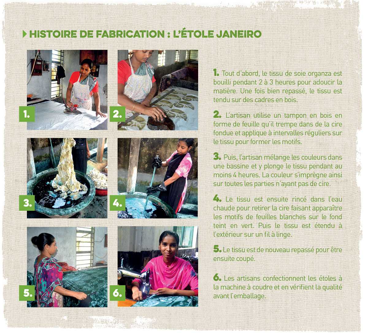 fabrication de l'étole en soie