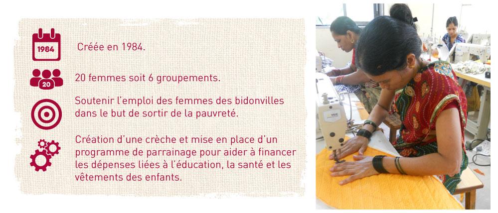 soutenir l'emploi des femmes des bidonvilles dans le but de les sortir de la pauvrete, mise en place de programme de parrainage pour depenses education