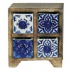 Rangement tiroirs bois peint main