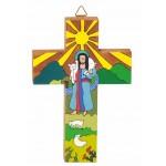 crucifix bois colore
