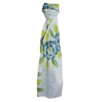 Étole blanche fleurs bleues et vertes