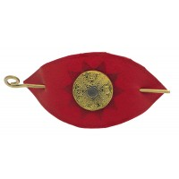 barrette cuir rouge