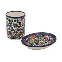 set-salle de bain-porte-savon-gobelet-ceramique-Palestine