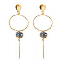 boucles oreilles pendantes dore bleu fleurs
