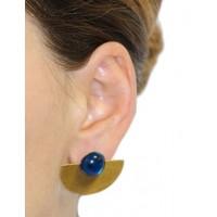 Boucles d'oreilles dorées et bleues équitables