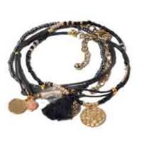 bracelet noir dore