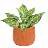cache pot hibou orange