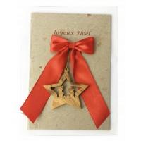 carte noel ruban rouge etoile
