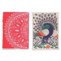 Lot de deux cartes Inde Mandala Paon