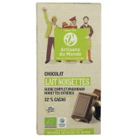 Chocolat au lait noisettes bio et équitable
