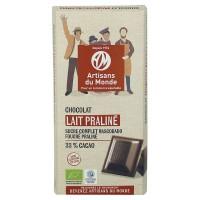 Chocolat au lait praliné bio et équitable