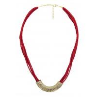 Collier rouge et doré ethnique