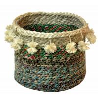 corbeille pompons sari recycle