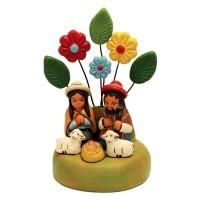 creche ceramique fleurs