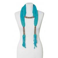 écharpe bleue turquoise bijoux