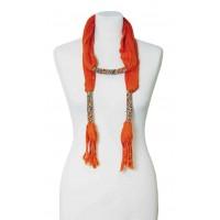 étole bijoux orange en coton et perles