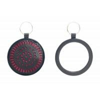 miroir cuir noir rose