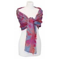 écharpe en coton rose et bleue