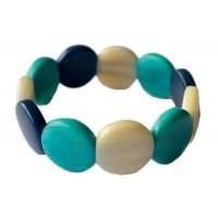 Bracelet en ivoire végétale équitable bleu