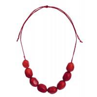 Collier en tagua ivoire végétale rouge équitable