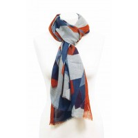 écharpe bleue grise