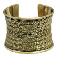 Bracelet manchette équitable en laiton doré