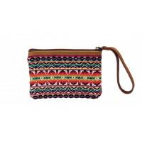pochette multicolore ethnique cuir coton ethique