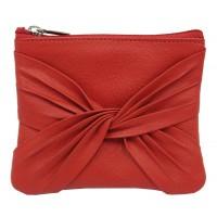 porte monnaie cuir rouge zip equitable