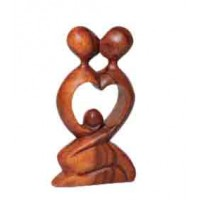 sculpture couple bois coeur