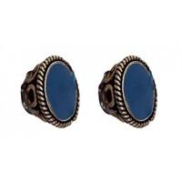 Boucles d'oreilles Bouton bleu