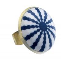 Bague ajustable équitable bleu et blanc marin