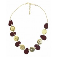 collier rouge dore