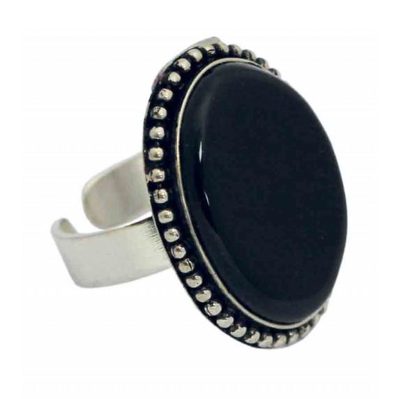 bague noire argente pierre agate