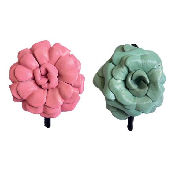 barrette fleurs cuir