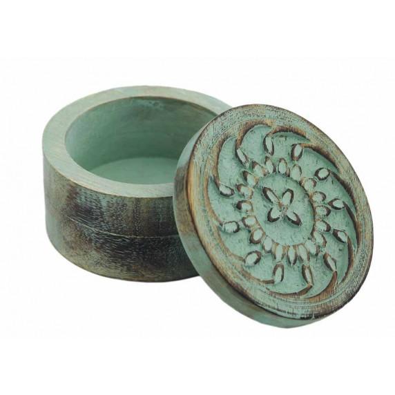 boite ronde verte bois equitable