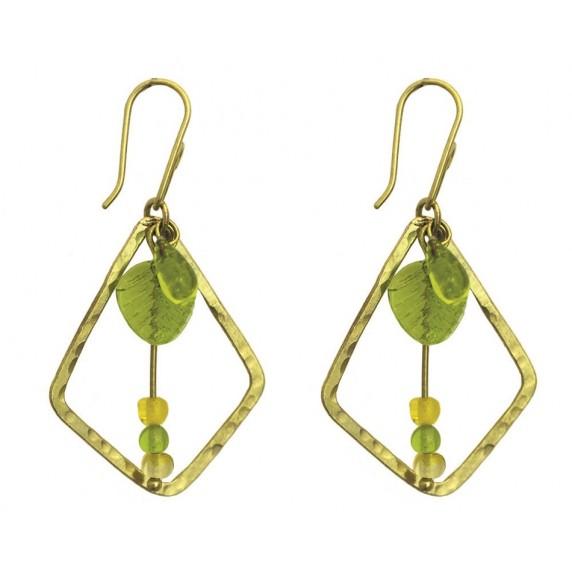 Boucles d'oreilles Hodari vert