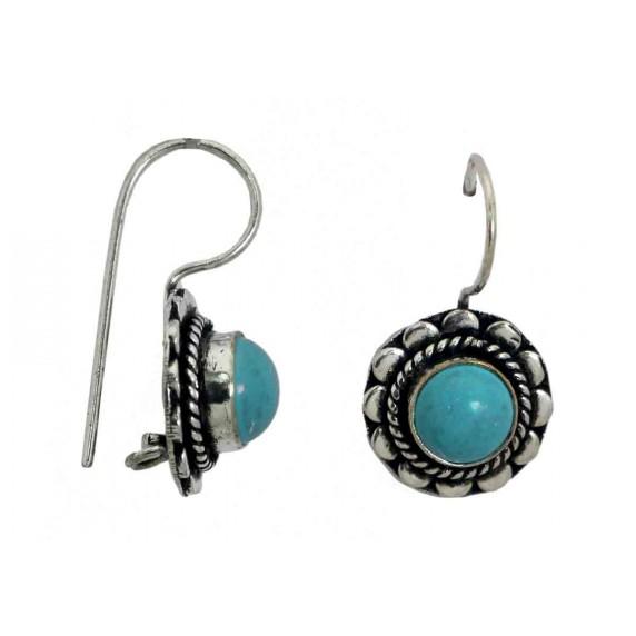 boucles oreilles bleu argente artisanat indien