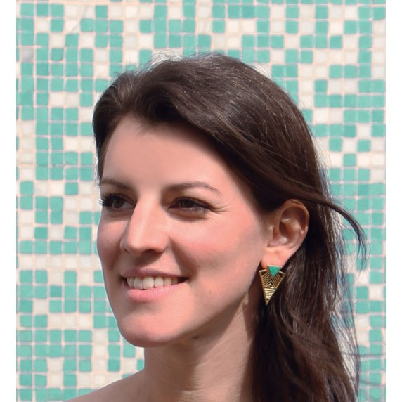 boucles turquoise dore