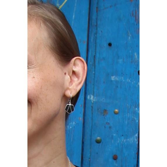 boucles oreilles noires argent