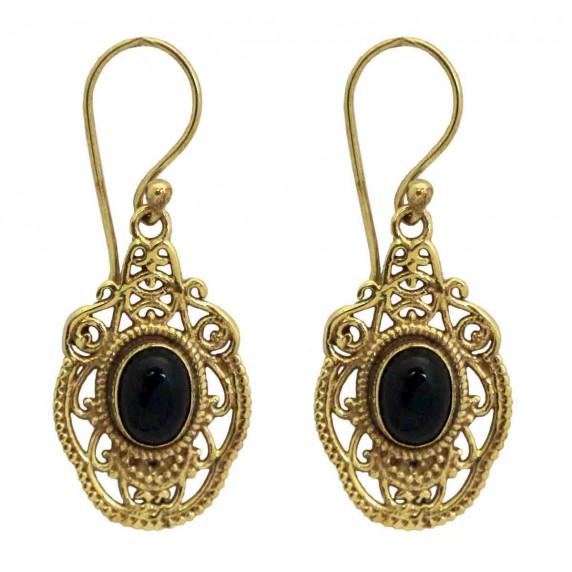 boucles oreilles perle de verre dore equitable
