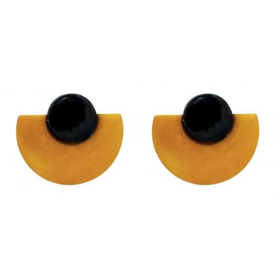 boucles oreilles jaune noir