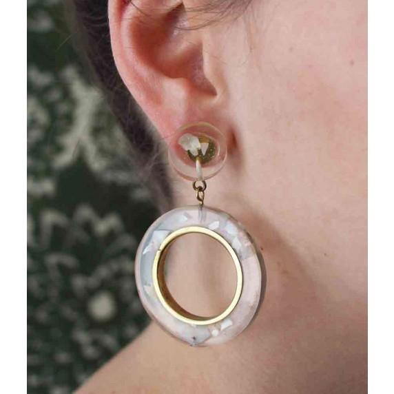 boucle oreille dore transparente