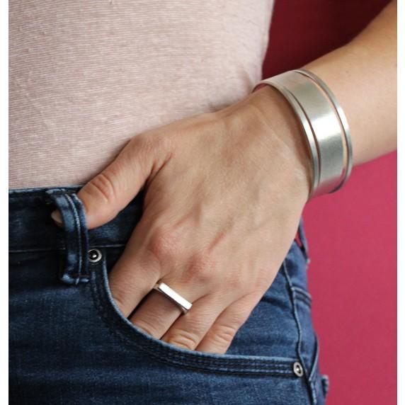 bracelet jonc manchette argente