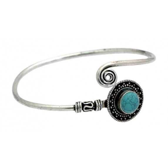 bracelet jonc argente bleu