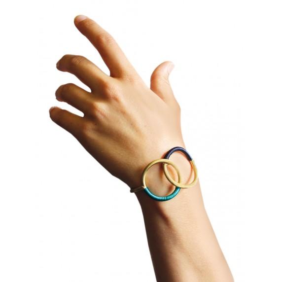bracelet jonc commerce equitable dore bleu