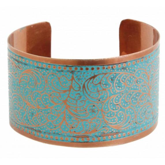 bracelet manchette cuivre turquoise equitable