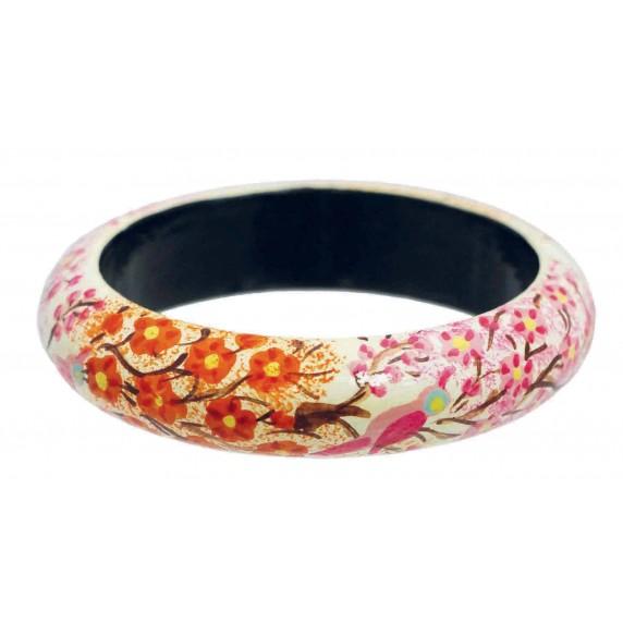 Bracelet bois rose fleurs