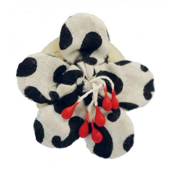 Broche en coton fleurs