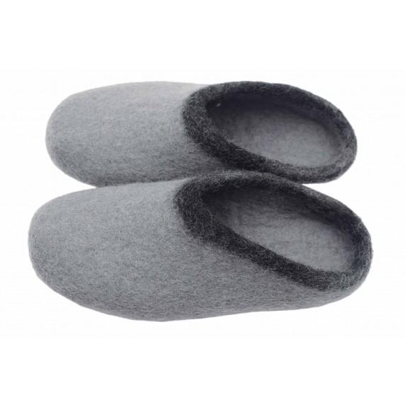 chaussons gris equitable feutrine