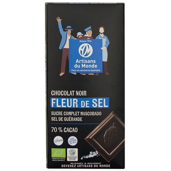 Chocolat noir fleur de sel bio et équitable